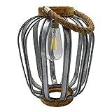 JAVA - Farol solar bohemio de madera y acero galvanizado, mango de cuerda, bombilla de filamento LED blanco cálido
