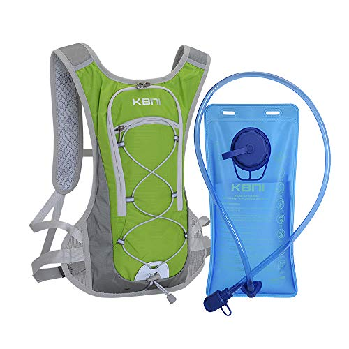 KBNI Hydration Pack with 2L Water Bladder for Women Men Kids - This Backpack Keeps You Cool and Great for Outdoor Sports of Running Hiking Camping Climbing Cycling Skiing Green