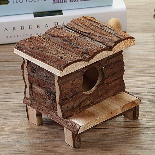 Hamster Haus aus Holz Hamster House Natural Ratten Hideout Hut for Zwerghamster Maus Ratte Gerbil Käfige Pens (Farbe: Stellen Sie Farbe, Größe: 13X12X12CM) ZHANGKANG