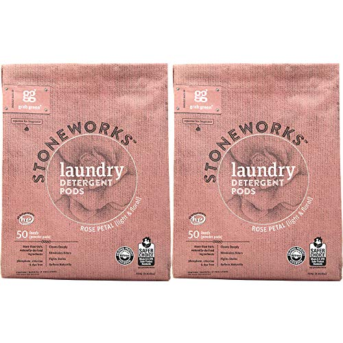 Grab Green Stoneworks Laundry Detergent Pods, Powered by Naturally-Derived Plant & Mineral-Based Powder Pods, Rose Petal, 50 Count (Pack of 2) Loads,EPA Safer Choice Certified