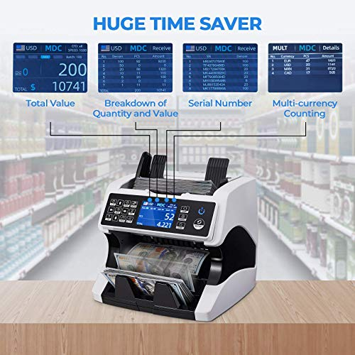 MUNBYN Bank Grade Money Counter Machine Mixed Denomination, Serial Number, 2 CIS/UV/MG/MT/IR Counterfeit Detection, Sorter, Multi Currency, Cash Counter Machine with Bill Recognizes for Small Business