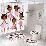 KOKGYM Ballett-Duschvorhang-Set, 183,9 x 183,9 cm, afrikanisches amerikanisches schwarzes Mädchen, Ballerina-Prinzessin, Duschvorhang, WC-Vorleger & Deckelbezug + 12 Haken