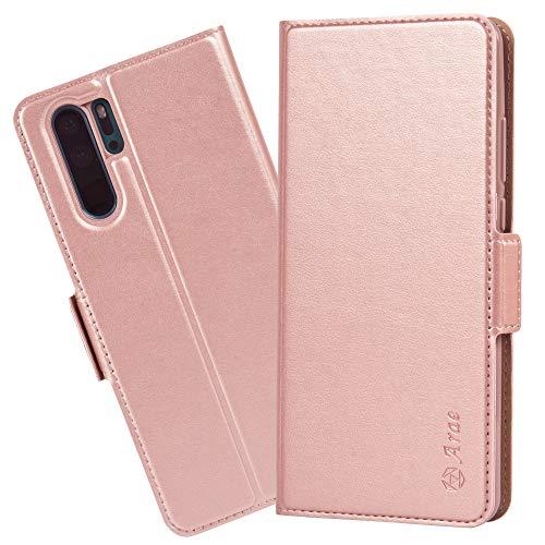Arae Hülle Kompatibel Mit Huawei P30 Pro, Handyhülle Huawei P30 Pro Tasche Leder Flip Cover Brieftasche Etui Schutzhülle für Huawei P30 Pro (Roségold)