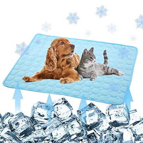 Pet Products Cool Mat-Dog Cooling Mat Summer Pet Cooling Pads, Ice Silk Cooling Mat for Dogs & Cats, Portable & Washable Pet Cooling Blanket for Kennel/Sofa/Bed/Floor