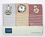 Vingi Set 3 Strofinacci da Cucina Art. Cucina, Spugna 100% Cotone, Misura 47 x 70 Colore Rosa Antico, Beige, Grigio