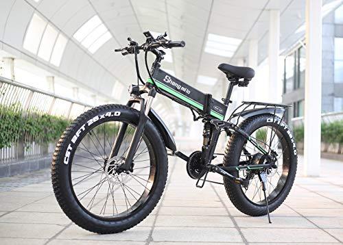 Shengmilo-MX01 26 Pulgadas eléctrica Bicicleta de Nieve, 1000W 48V 13ah Plegado neumático...