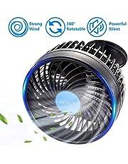 HueLiv Ventilador de Coche, Ajustable Ventilador Eléctrico con Ventosa Poderoso Silencioso Cambio de Velocidad sin Escalonamientos Rotativo 12V Ventiladores de Coches del Verano de Refrigeración (6'')