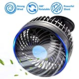 HueLiv Car Fan 12V Electric Vehicle Fan with Suction Cup Cooling Fan Plugs into Cigarette Lighter, Powerful Silent and Stepless Speed Change 360 Degree Rotatable Car Fans for Summer Cooling
