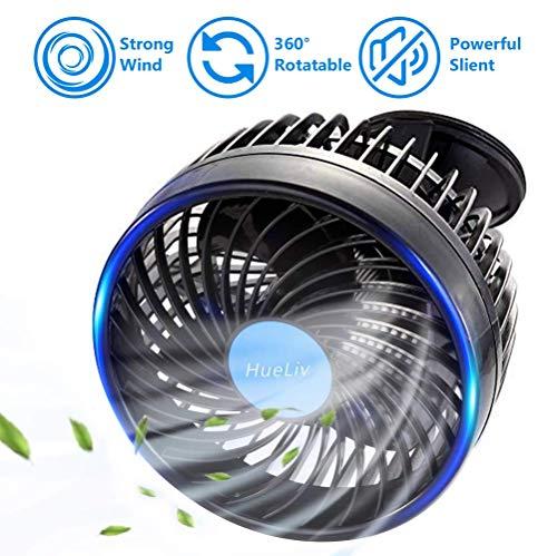 HueLiv Ventilador de Coche, Ajustable Ventilador Eléctrico con Ventosa Poderoso Silencioso Cambio...