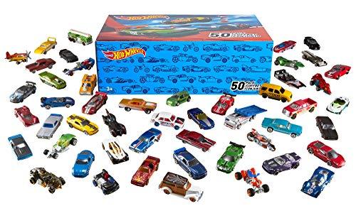 Hot Wheels Mega Confezione di 50 Macchinine con Dettagli Realistici e Decorazioni Autentiche, da Collezionare, V6697, 3 anni e più