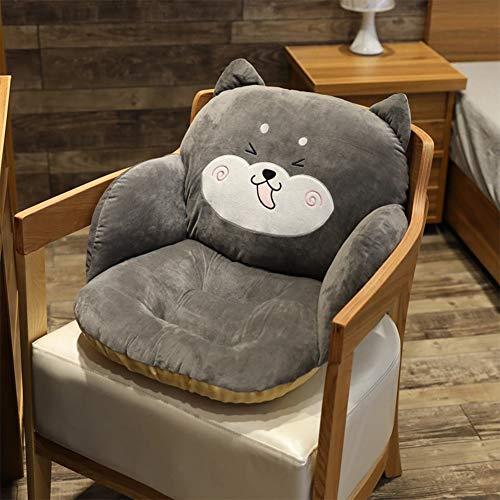 HB.YE - Cojín de silla con respaldo antideslizante, cojín para silla de jardín, exterior, cojín para silla de oficina, interior – Gris Shiba Inu