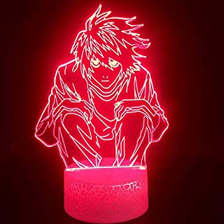 Anime Death Note L-Lawliet 3D Lamp Teenager Nightlight Touch Sensor Colorful with Remote Led Night Light Lamp (Crack with ...