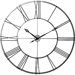 Howard Miller Stockton Wall Clock 625-472 – Oversized Round Wrought-Iron with Quartz Movement