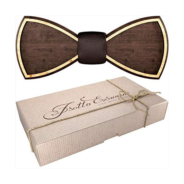 Wooden Bow Tie for Men, Women, Boys and Girls – Pre-Tied Bow Ties Formal Solid Tuxedo for Adults & Kids Adjustable Length
