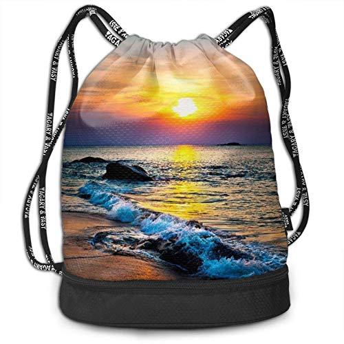 XCNGG Kordelzug Rucksack, letzte Sonne Strahlen über dem Meer Wellen drucken Sport Travel Gym Bundle Rucksack Tasche
