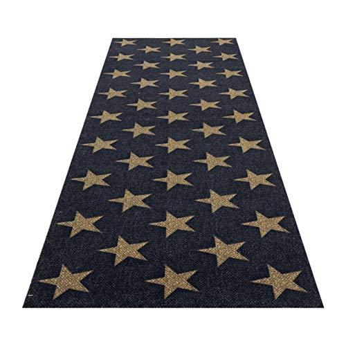 HOMEFACTO:RI Küchenläufer Küchenteppich Teppichläufer Brücke Sterne Stars | waschbar, Größe:ca. 60 x 180 cm, Designs:Sterne | schwarz braun