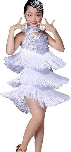 ZYLL Costumes De Danse Latine pour Enfants Jupes De Danse Latine à Franges en Forme De Diahommets pour Filles
