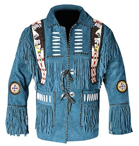 REDWOLF Western Cowboy Style - Chaqueta de Piel con Flecos para Hombre D8 XXS-5XL Azul Azul XX-Small