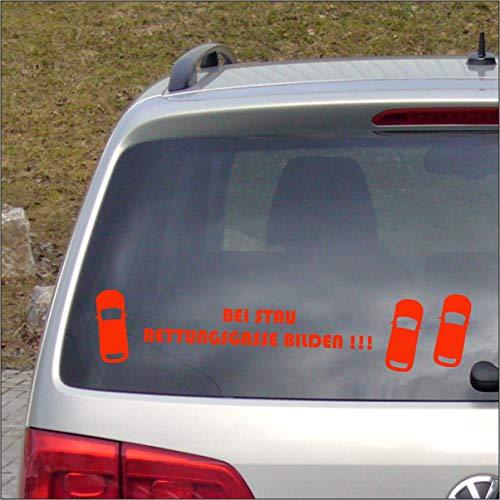Dr.Shield Bei Stau Rettungsgasse Bilden! Aufkleber NEON Farben Sticker Leben retten Waschanlagen-fest (NEON Rot)