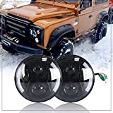 NSLUMO 2pcs/Kit Black Defender LED Driving 7'' Round Headlight White Yellow Daymarker Turn Signal Projector DRL Halo Ring Eyes Replacement For Defender 90 110 RHD Headlamp