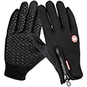 AOFU Winter Gloves,Touch Screen Gloves Black Gel Men&Women for Outdoor Sports