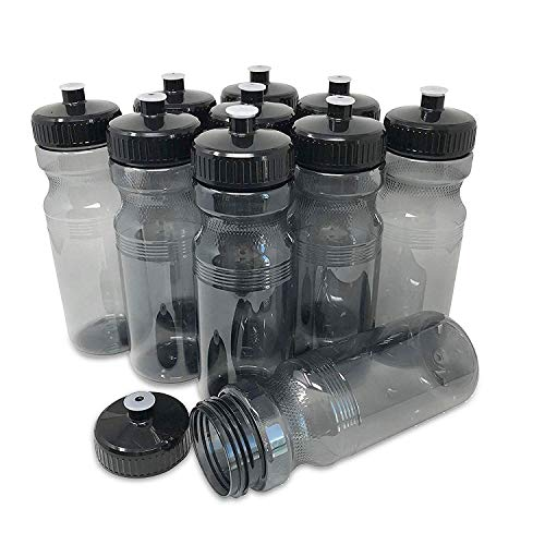 CSBD Clear 24 Oz Sports Water Bottles, 10 Pack, Blank for Customized Branding, No BPA Food Grade Plastic for Fitness, Hiking, Cycling, or Gym Workouts, Made in USA (Smoke, 10 Pack)