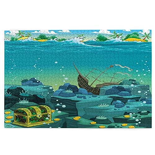 KIMDFACE Rompecabezas Puzzle 1000 Piezas,Paisaje Marino Submarino con Treasure Galeon y Barco Pirata hundido Kids Print,Educa Inteligencia Jigsaw Puzzles para Niños Adultos