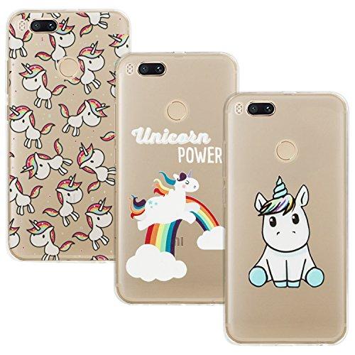[3 Pack]Xiaomi Mi A1 Cover, Xiaomi Mi 5X Cover, EUGO Custodia Puro Trasparente Morbida TPU Silicone Ultra Sottile Case, Design-02
