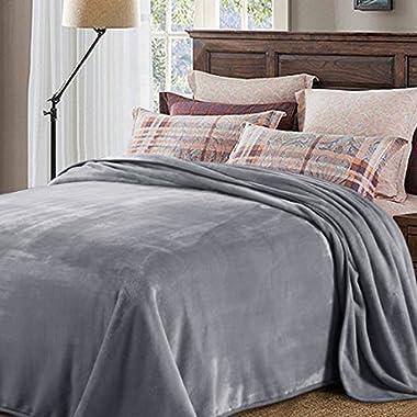 H.VERSAILTEX Weighted Blanket 330 GSM Luxury Travel Beach Blanket Oversized Fleece Grey Throw Blanket Super Soft Warm Fuzzy Lightweight Bed or Couch Blanket King Size for Grass, Machine Washable