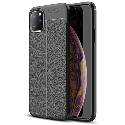NALIA Leather Look Cover Compatible with iPhone 11 Pro Max, Ultra Thin TPU Silicone Protective Phone Case Shockproof Back Skin, Soft Slim Gel Protector Mobile Smartphone Shell Bumper - Black