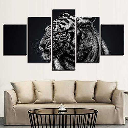 FGVBWE4R Moderne Leinwand Bilder HD Gedruckt Wandkunst Rahmen 5 Stücke Wald Tier Tiger Wohnzimmer Dekoration Gemälde Poster-XXL