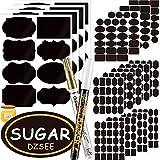 DZSEE® 308x Etiquetas Adhesivas + 2 Marcador de Tiza, Pegatina Reutilizable, etiquetas para...