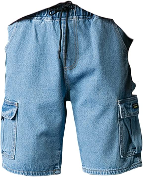 Men's Straight Loose Cargo Denim Shorts Outdoor Casual Cropped Jean Short Multi Pockets Durable Baggy Work Jeans Shorts (Blue,27)
