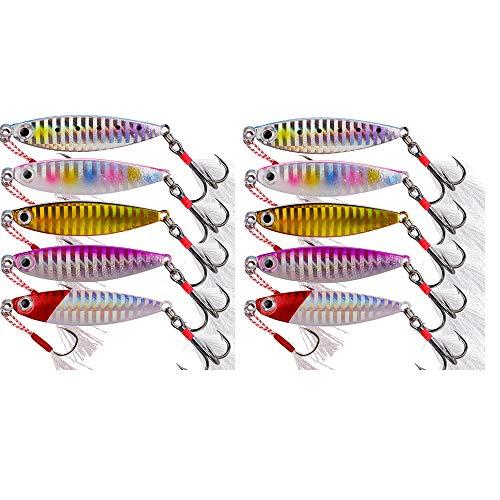 FJSC 10Pcs Fishing Lure Metal Head Jigs, Swim Shad Jig Lures Baits, Sinking Swimbaits Spinnerbait Crankbait, Minnow Fishing Bait for Saltwater and Freshwater 7g