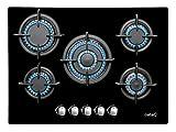 Cata Modelo LCI 9041 BK   5 Quemadores Encimera de Gas Natural   Ancho de 87 cm   Encendido electrónico Integrado en el Mando, 1750 W, Vidrio