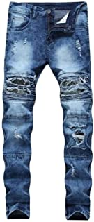 Men Elastic Waist Casual Pants High Jeans Blue Denim Newest STYL
