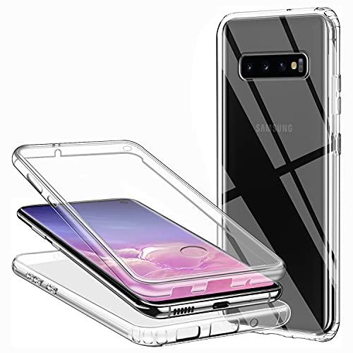 Coque pour Samsung Galaxy S10, Transparent Silicone Housse 360 Degres Protection Avant et Arrière TPU Gel Souple et PC Rigide Full Body Etui Ultra Mince Antichoc Coque intégrale Samsung S10