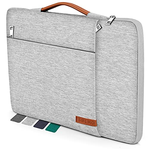 Sølmo I - Funda para portátil de 15,6 pulgadas con asa de piel, funda para ordenador portátil de 15,6 pulgadas, color gris claro