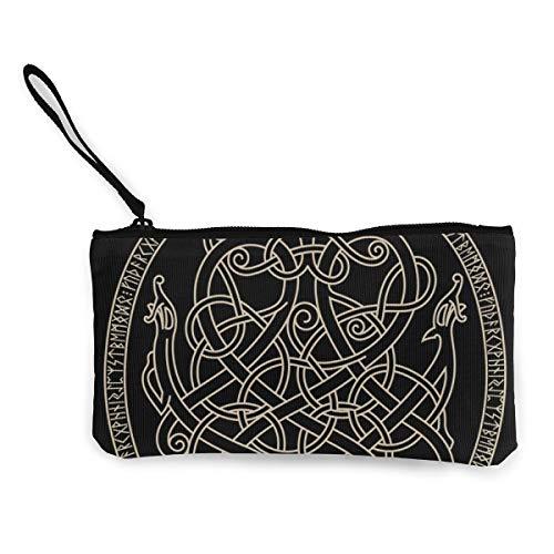 CVHUIRNH Ancient Decorative Dragon Celtic Style Canvas Coin Purse Change Cash Bag Zipper Small Purse Wallets 4.5 X 8.5 Inch with Zipper Wallet Card Key Case for Women Men,Coin Purse
