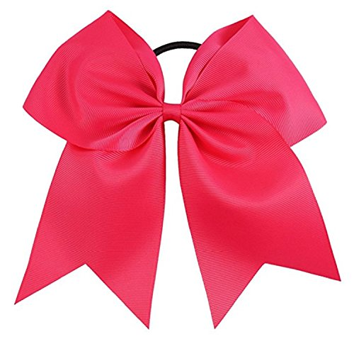 Kenz Laurenz Cheer Bows Hot Pink Cheerleading Softball - Gifts for Girls and Women Team Bow with Ponytail Holder Complete Your Cheerleader Outfit Uniform Strong Hair Ties Bands Elastics (13)