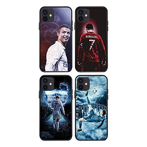 LXIAOWEI Cubierta del teléfono Ronaldo (4pcs), para iPhone 12,12Pro, Juventus F.C.Shockproof, Teléfono Cubierta de Parachoques, Impermeable, decoración del teléfono 12pro