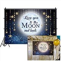 DORCEV Love You to The Moon and Back 写真用背景 子供 大人 誕生日パーティー 星空 輝く星 空を愛する大人 ウェディング 写真 ビデオ スタジオ 小道具