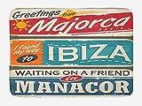 N\A Alfombra de baño Ibiza, temática de Vacaciones Mallorca Ibiza y Manacor Lugares exóticos de la región de Las Baleares España, Alfombra de decoración de baño de Felpa con Respaldo Antideslizante