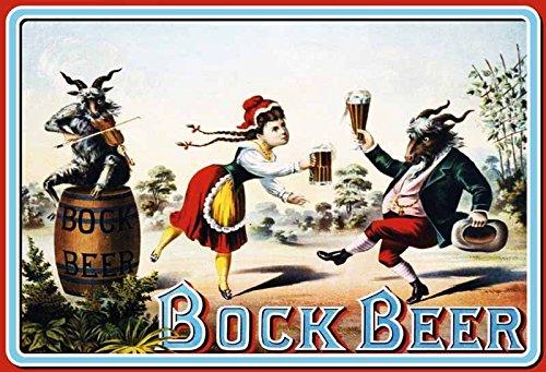 Schatzmix Bock Beer tanzenden Bock mit mädchen Bier Metal Sign deko Sign Garten Blech