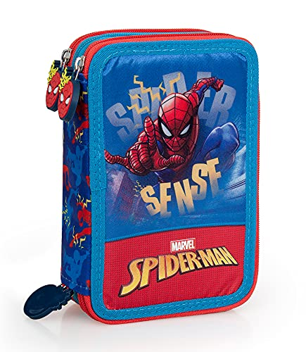 Spiderman 43224 Astuccio Triplo Riempito, 44 Accessori Scuola, 20 Centimetri