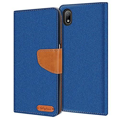 Verco kompatibel mit Huawei Y5 2019 Hülle, Schutzhülle für Y5 2019 Tasche Denim Textil Book Hülle Flip Hülle - Klapphülle Blau