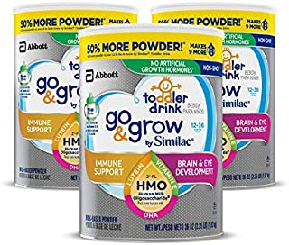 Go & Grow by Similac Toddler Drink with 2'-FL HMO for Immune Support, with 25 Key Nutrients to Help Balance Toddler Nutrition, Non-GMO Milk-Based Powder, 24 oz Can