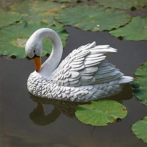 RecoverLOVE Simulation Schwan Skulptur, schwimmende Schwan Lockvogel, Outdoor Garten Fischteich Dekor Wasserlandschaft Steingarten Aquarium Landschaftsbau Dekoration (12,99 x 7,09 Zoll)