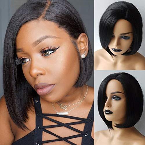 Yooyg Peluca Bob recta corta, peluca sintética ondulada, longitud del hombro, aspecto natural, resistente al calor, pelucas de fibra para mujeres