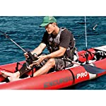 Intex excursion pro kayak, professional series inflatable fishing kayak 26 super tough laminate pvc with polyester core: light weight and highly resistant to damage from abrasion, impact and sunlight high pressure inflation provides extra rigidity and stability, with high pressure spring loaded valves for easy inflation and fast deflation includes 2 removable skews for deep and shallow water, 2 floor mounted footrests, 2 integrated recessed fishing rod holders, 2 adjustable bucket seats